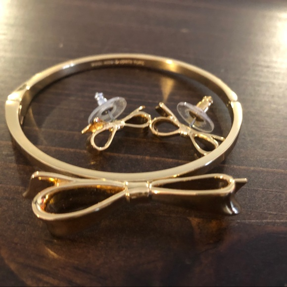 Gold Kate Spade Bangle and matching earrings- new